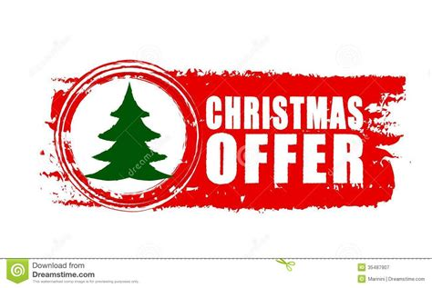 christmas offer and christmas tree on red drawn banner