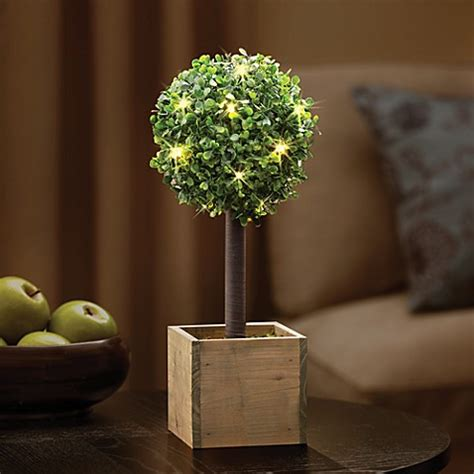 battery lit artficial topiaries buy 15 75 inch battery operated led lighted boxwood topiary from bed bath beyond