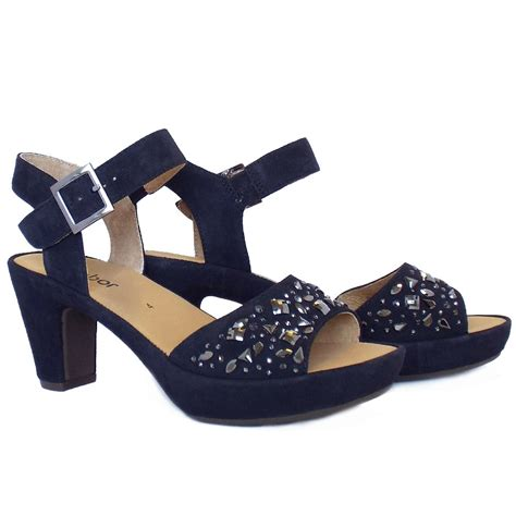 suede heeled sandals gabor abe s dressy block heel navy suede sandals