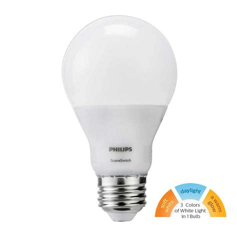 Lu Led Philips 2 Watt philips 60 watt equivalent a19 led sceneswitch light bulb soft white daylight warm glow 2 pack