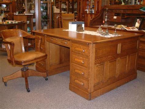 Oak Partners Desk by Salado Creek Antiques Quartersawn Oak Partners Desk