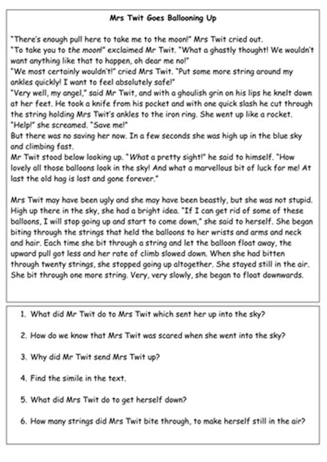 roald dahl biography comprehension ks2 the twits comprehension task by carly11 teaching