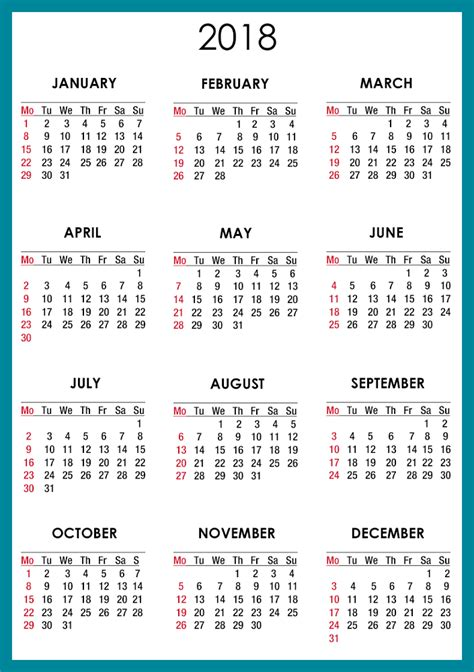 Printable Calendar Yearly 2018 | yearly calendar 2018 printable activity shelter