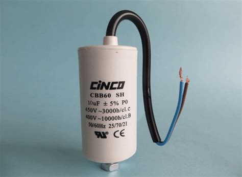 ac capacitor connector 10mfd 400v 450v ac cbb60c bipolar cable motor run capacitor cinco capacitor china ac