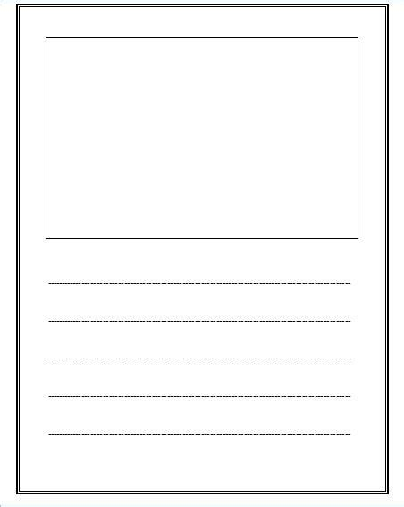 Writing Template free lined paper with space for story illustrations