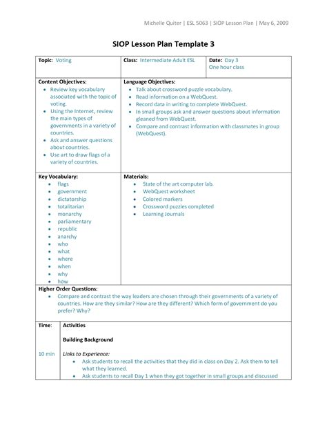 teacher lesson plan template 9 free sample example format