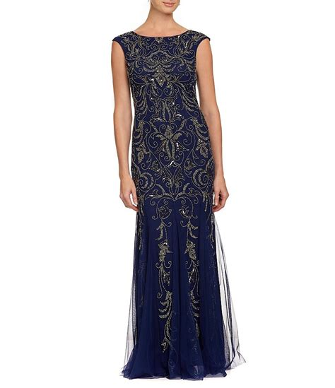 beaded gown papell cap sleeve scoop back beaded gown dillards
