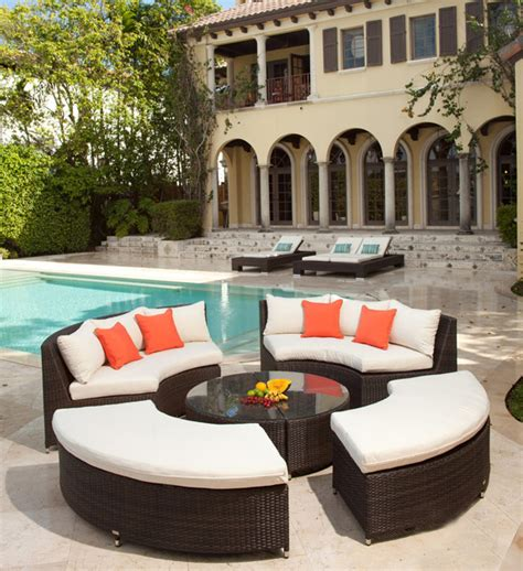 round sectional patio furniture round wicker outdoor sectional
