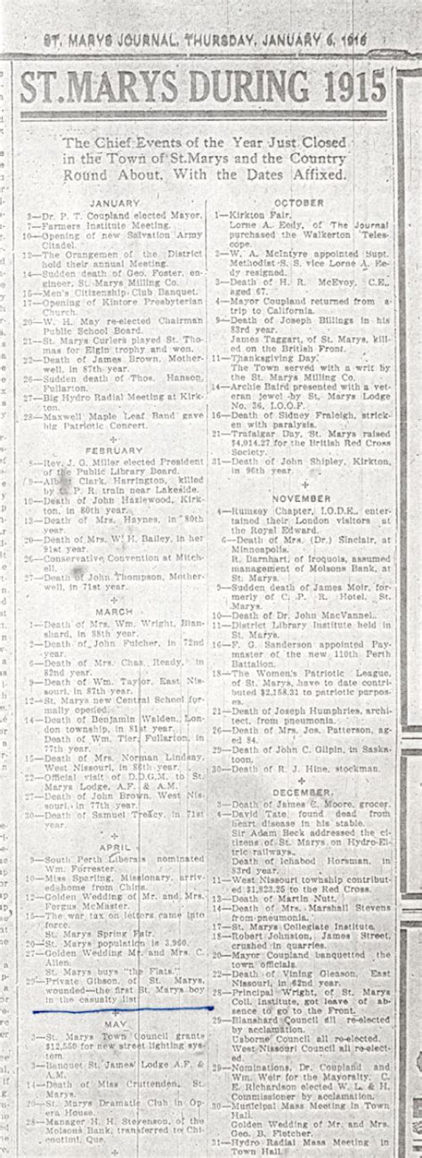 Ontario Deaths Records Free Records In Obituaries For St Marys Ontario In 1915
