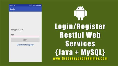 consuming data services using java android login and register using restful web services