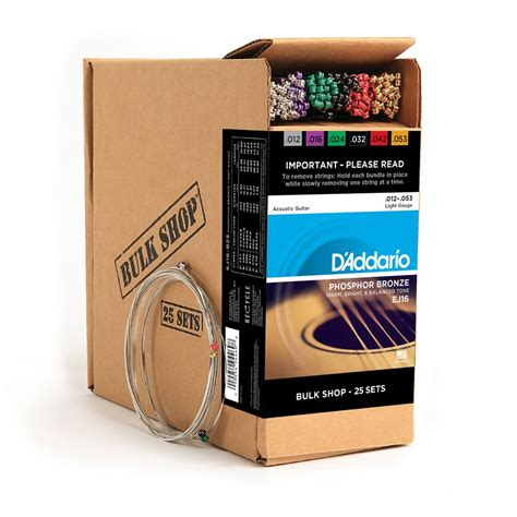 d addario ej16 phosphor bronze light acoustic guitar strings d addario acoustic guitar bulk shop 25 pack phosphor