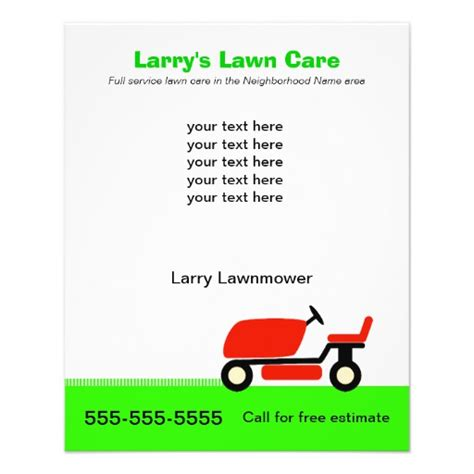 lawn card flyer template free lawn care flyers