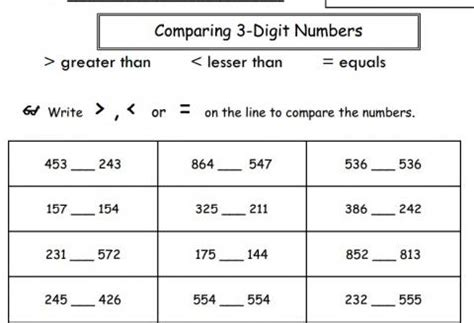 Comparing 3 Digit Numbers Worksheets by Comparing Three Digit Numbers Worksheet Educational