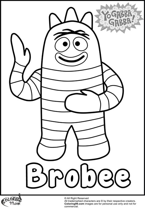 Yo Gabba Gabba Coloring Page brobee yo gabba gabba coloring pages team colors