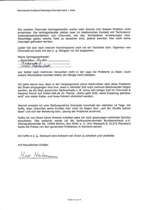 Reklamation Schreiben Muster Brief Seite 2 Beschwerdeschreiben Aveo Kalos Geht Aus Wenn Kupplung Getreten Wird Chevrolet
