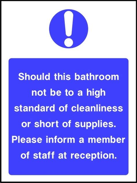Bathroom Signs For Cleanliness by Bathroom Cleanliness Sign Sk Signs Labels Hotel Signage