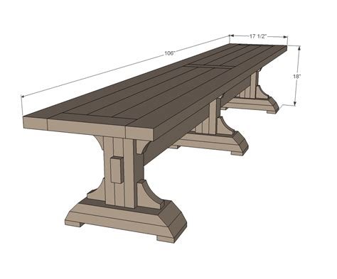 dining table bench plans ana white triple pedestal farmhouse bench diy projects