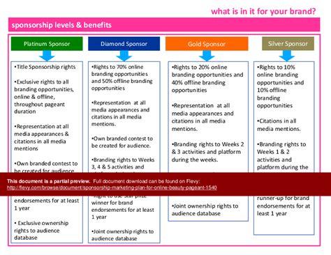 sponsorship marketing plan template sponsorship marketing plan for pageant