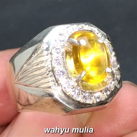 Batu Opal Cat Eye cincin batu permata opal cat eye golden mata kucing asli
