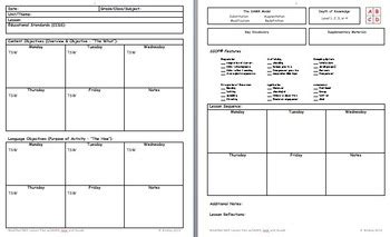 Siop Lesson Template Modified By Pi B Squared Teachers Pay Teachers Modified Lesson Plan Template