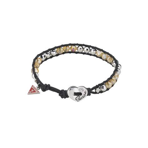 cord bead bracelet guess large bead cord bracelet in black white lyst