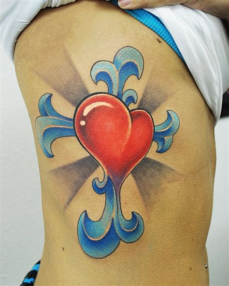 heart with a cross tattoo cross tattoos
