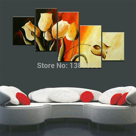 hand painted picture sets 5 panel wall art no framed hand painted abstract tulip oil painting flowers 5 piece