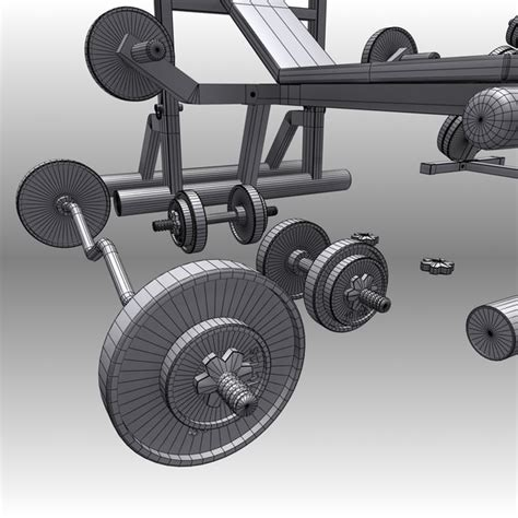 modells workout bench 3d realistic exercise machine bench press model