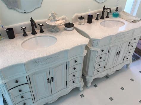 sidebyside vanities amp glass tile bathroom remodel los