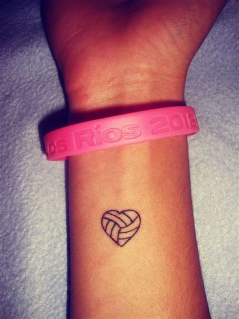 volleyball in heart small wrist tattoo tats pinterest
