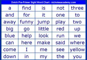 dolch list of sight words pre primer sight word chart