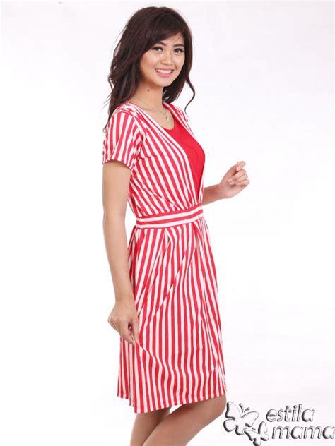 Dress Salur Vneck vinetta dress menyusui spandex salur merah estila