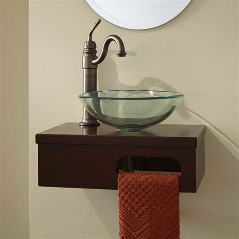 Bathroom Vanity With Vessel Sink Mount by 18 Quot Dell Mahogany Wall Mount Vessel Vanity With Towel Bar