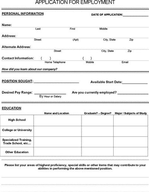 printable job application templates job application form free pdf employment download the