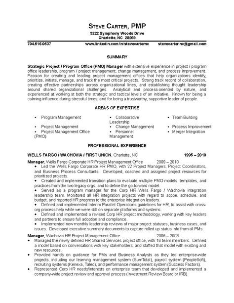 strategic project program office pmo manager resume sle