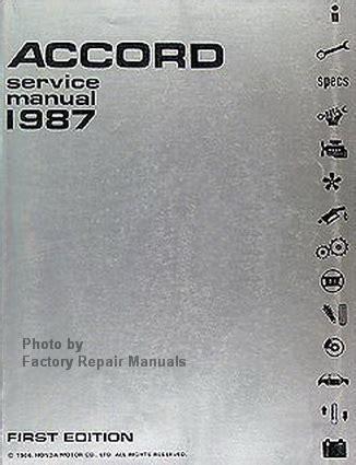 service and repair manuals 1987 honda accord electronic valve timing 1987 honda accord factory service manual original shop repair factory repair manuals