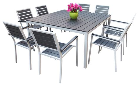 outdoor aluminum resin 9 square dining table and