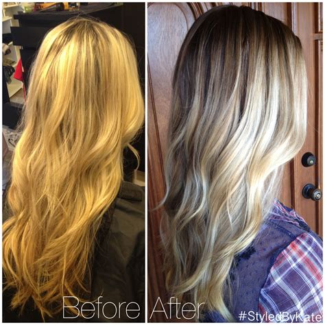 find pictures of hair with hi lights over 60 years of age before and after grown out foiled blonde highlights to