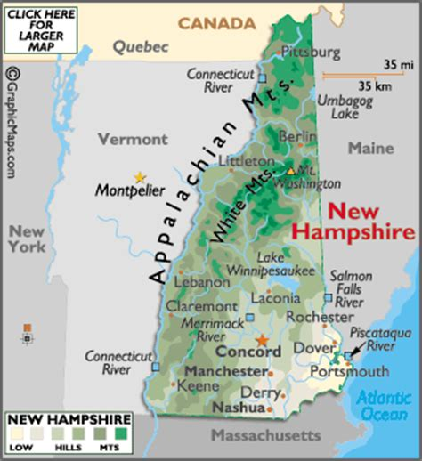 map usa showing new hshire new hshire map geography of new hshire map of new