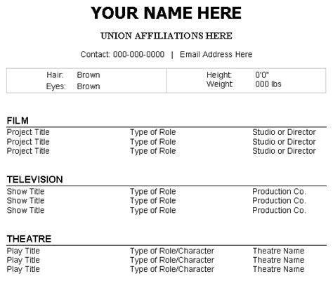 Actor Headshot And Resume