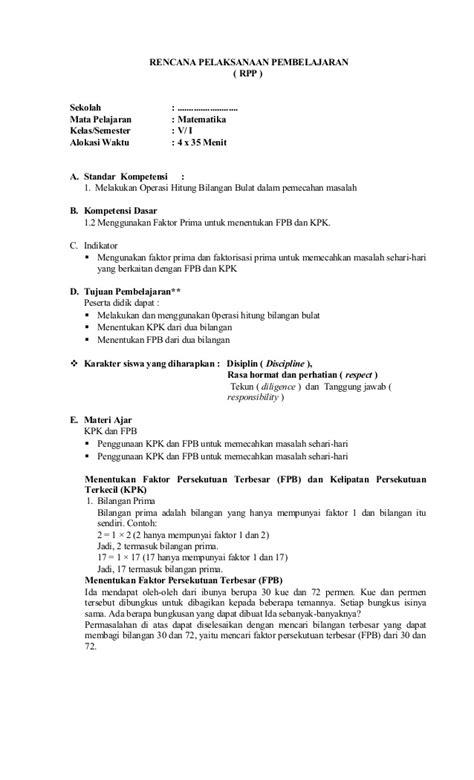 Matematika Jilid 4b Ktsp 2006 rpp matematika kelas 5 semester 1 2