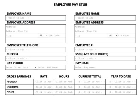 9 pay stub template microsoft office pay stub format