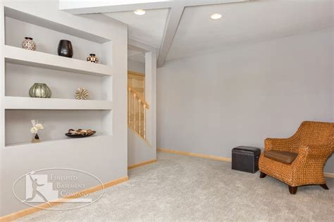 basement built in shelves basement stairs entry with shelves traditional
