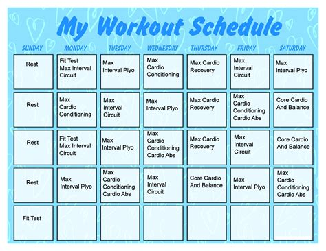 printable workout calendar activity shelter