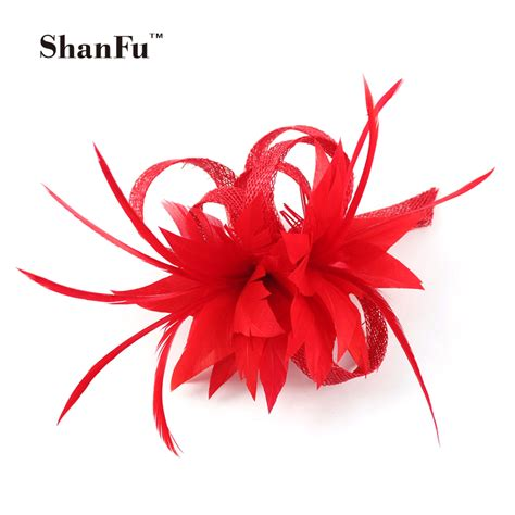 fascinator feather flower cocktail brooch pin hair clip wedding hair shanfu women small sinamay fascinators feather flowers