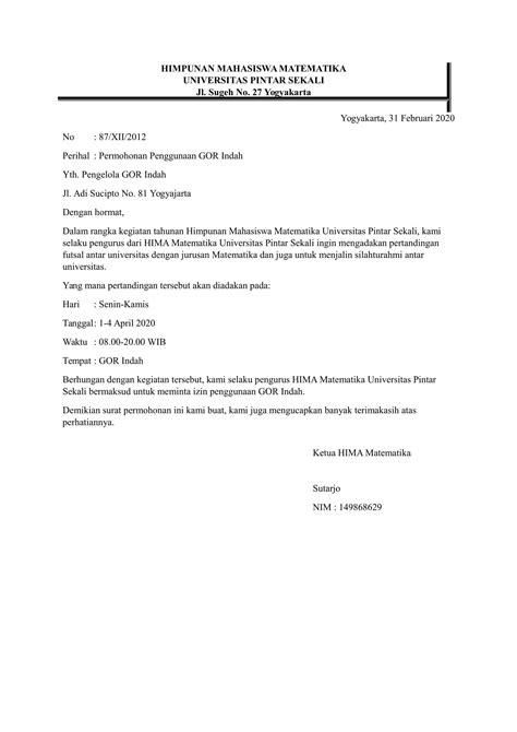 contoh surat permohonan berbagai keperluan