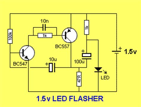 capacitor led flasher shanghui products simple 1 5v powered led flasher circuit diagram