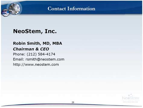 Maryland Smith Mba Questions by Contact Information Neostem Inc Robin Smith Md Mba
