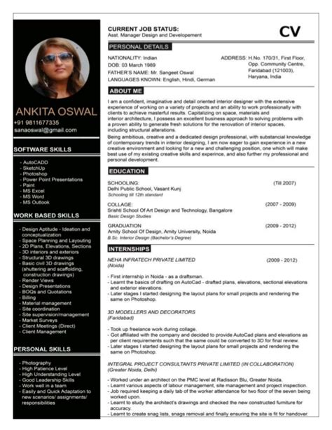 resume sles for interior designers resume ankita oswal interior designer