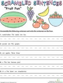 scrambled sentences fruit fun worksheet education com